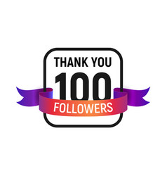100 followers number with color bright ribbon vector image