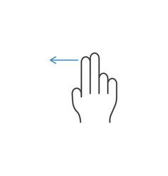 2 finger swipe left line icon hand gestures vector image