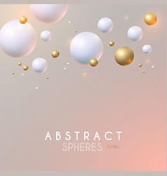 abstract background with 3d white and gold spheres vector image