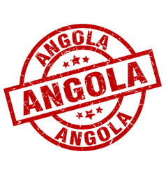 Angola red round grunge stamp vector