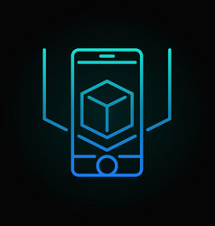 Ar smart-phone blue icon or symbol in thin vector