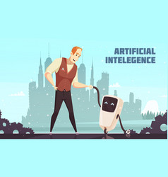 Artificial intelligence robots assistants vector
