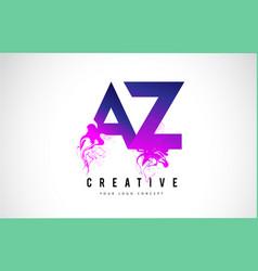 Az a z purple letter logo design with liquid vector