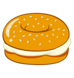 Bagel with cream cheese vector