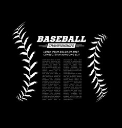Baseball ball text frame on black background vector
