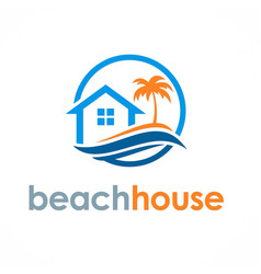 Beach house travel logo vector