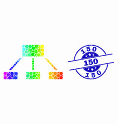 Bright dotted hierarchy icon and grunge 150 vector