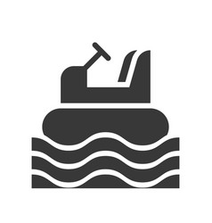 Bumper boat icon amusement park related solid vector