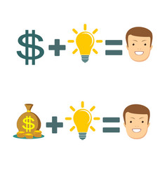 businessman get idea to make money vector image