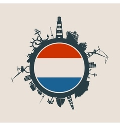 Cargo port relative silhouettes Netherlands flag vector image