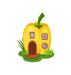 Cartoon ifantasy house in shape of yellow pepper vector
