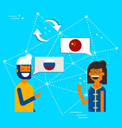 chinese to russian online chat translation concept vector image