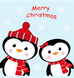 christmas card with two penguins vector image