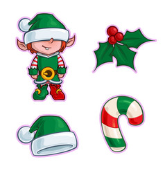 christmas cartoon icon set - elf holly santa hat vector image
