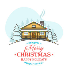 christmas greeting card with cozy house vector image