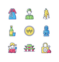 Culture korea rgb color icons set vector