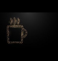 Cup coffee icon from lines triangles and particle vector