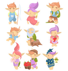 Cute troll characters set funny creatures with vector