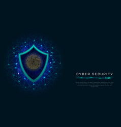 cyber security concept shield with fingerprint vector image