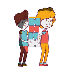 Delivery men with package box distribution vector
