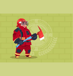 fireman holding hammer wearing uniform and helmet vector image