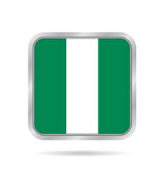 flag of nigeria metallic gray square button vector image
