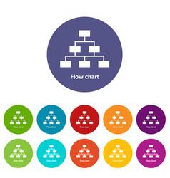 Flow chart icons set color vector