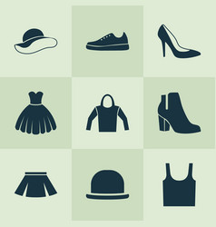 Garment icons set collection of panama singlet vector