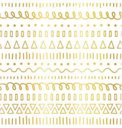 gold foil doodles seamless pattern ethnic vector image