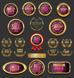 Golden badges and labels collection 6 vector