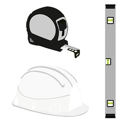Grey level construction building helmet and tape vector
