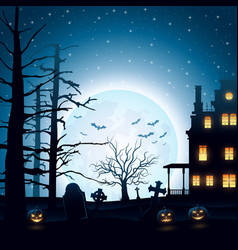 halloween night background with castle and pumpkin vector image