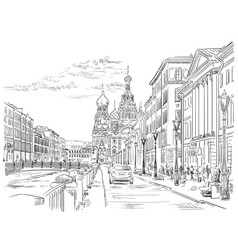 hand drawing st petersburg 4 vector image