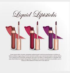 hand drawn color sketch of three liquid lipsticks vector image