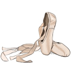 Hand-drawn style pointe shoes EPS8 vector image