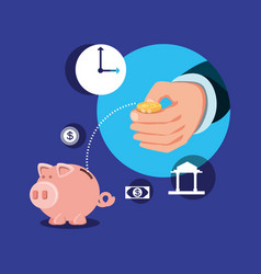 hand with set icons economy finance vector image