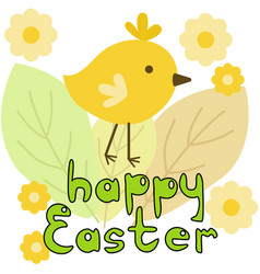 Happy easter greeting card with yellow chicken vector
