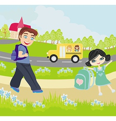Happy kids go to school vector