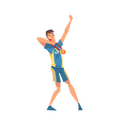 happy sportsman with medal male athlete vector image