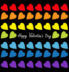 happy valentines day rainbow heart set seamless vector image