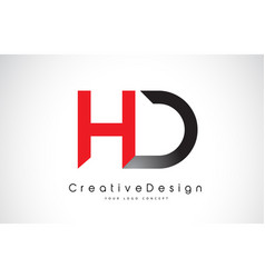 Hd h d letter logo design in red and black vector