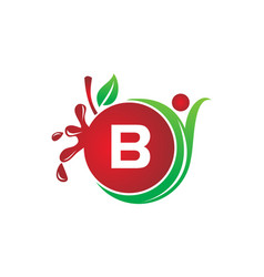 health fruit juice initial b vector image