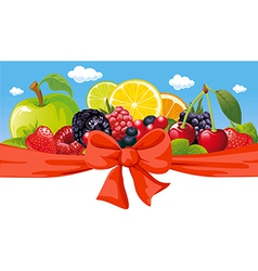 horizontal design with fruit bow and blue sky vector image