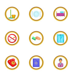 Hotel service icons set cartoon style vector