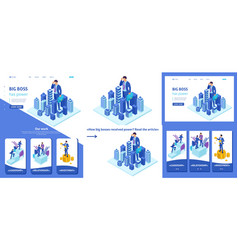 Isometric businessman looks down at the city vector