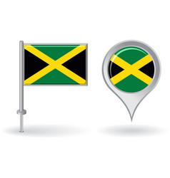 Jamaican pin icon and map pointer flag vector image