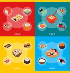 Japanese food concept banner set 3d isometric view vector