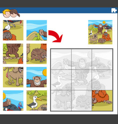 Jigsaw puzzle game with funny wild animal vector