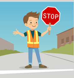 little boy in crossing guard uniform in the street vector image