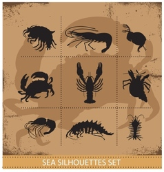 Lobsters and crabs silhouettes signs vector